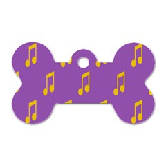 Eighth Note Music Tone Yellow Purple Dog Tag Bone (two Sides) by Alisyart