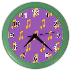 Eighth Note Music Tone Yellow Purple Color Wall Clocks