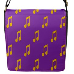 Eighth Note Music Tone Yellow Purple Flap Messenger Bag (s)