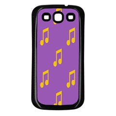 Eighth Note Music Tone Yellow Purple Samsung Galaxy S3 Back Case (black)