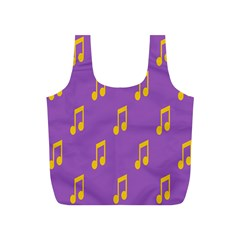 Eighth Note Music Tone Yellow Purple Full Print Recycle Bags (s)  by Alisyart