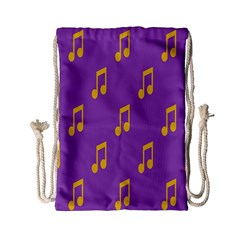 Eighth Note Music Tone Yellow Purple Drawstring Bag (small) by Alisyart