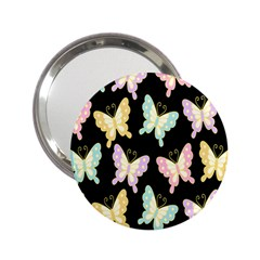 Butterfly Fly Gold Pink Blue Purple Black 2 25  Handbag Mirrors by Alisyart