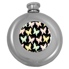 Butterfly Fly Gold Pink Blue Purple Black Round Hip Flask (5 Oz) by Alisyart