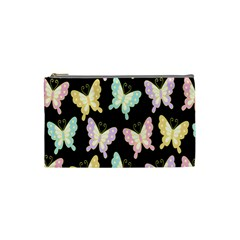 Butterfly Fly Gold Pink Blue Purple Black Cosmetic Bag (small)