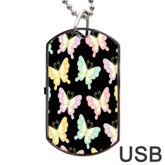 Butterfly Fly Gold Pink Blue Purple Black Dog Tag Usb Flash (one Side)