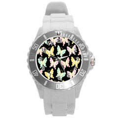 Butterfly Fly Gold Pink Blue Purple Black Round Plastic Sport Watch (l) by Alisyart