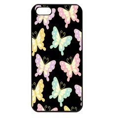 Butterfly Fly Gold Pink Blue Purple Black Apple Iphone 5 Seamless Case (black)