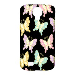 Butterfly Fly Gold Pink Blue Purple Black Samsung Galaxy S4 Classic Hardshell Case (pc+silicone) by Alisyart
