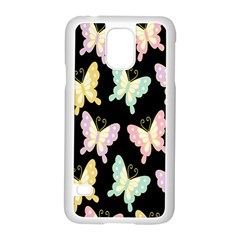 Butterfly Fly Gold Pink Blue Purple Black Samsung Galaxy S5 Case (white)