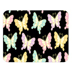 Butterfly Fly Gold Pink Blue Purple Black Double Sided Flano Blanket (large)