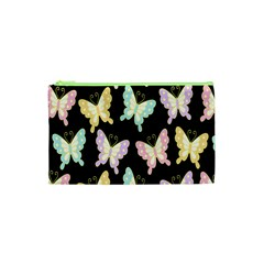 Butterfly Fly Gold Pink Blue Purple Black Cosmetic Bag (xs)