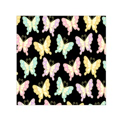 Butterfly Fly Gold Pink Blue Purple Black Small Satin Scarf (square)