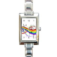 Color Music Notes Rectangle Italian Charm Watch