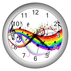 Color Music Notes Wall Clocks (silver)