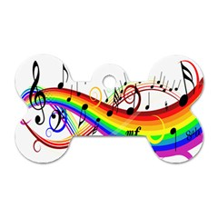 Color Music Notes Dog Tag Bone (one Side)