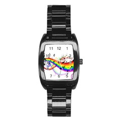 Color Music Notes Stainless Steel Barrel Watch