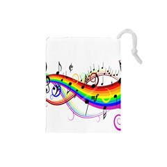 Color Music Notes Drawstring Pouches (small)