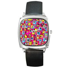 File Digital Disc Red Yellow Rainbow Square Metal Watch by Alisyart