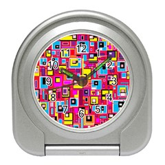 File Digital Disc Red Yellow Rainbow Travel Alarm Clocks