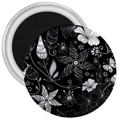 Floral Flower Rose Black Leafe 3  Magnets