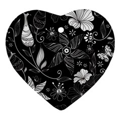 Floral Flower Rose Black Leafe Ornament (heart) by Alisyart
