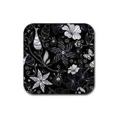 Floral Flower Rose Black Leafe Rubber Coaster (square)  by Alisyart