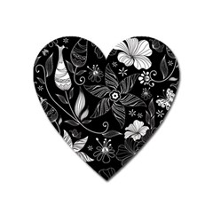 Floral Flower Rose Black Leafe Heart Magnet by Alisyart
