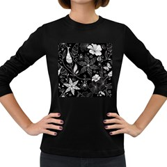 Floral Flower Rose Black Leafe Women s Long Sleeve Dark T Shirts
