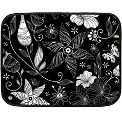 Floral Flower Rose Black Leafe Fleece Blanket (mini)