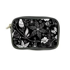 Floral Flower Rose Black Leafe Coin Purse by Alisyart