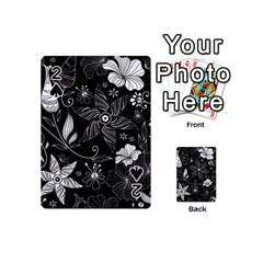 Floral Flower Rose Black Leafe Playing Cards 54 (mini)