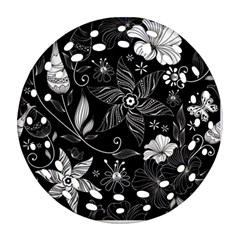 Floral Flower Rose Black Leafe Round Filigree Ornament (two Sides) by Alisyart
