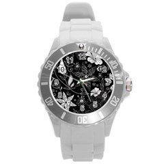 Floral Flower Rose Black Leafe Round Plastic Sport Watch (l) by Alisyart