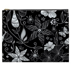 Floral Flower Rose Black Leafe Cosmetic Bag (xxxl)