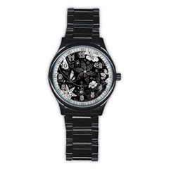 Floral Flower Rose Black Leafe Stainless Steel Round Watch by Alisyart