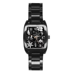 Floral Flower Rose Black Leafe Stainless Steel Barrel Watch by Alisyart