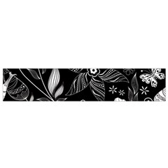 Floral Flower Rose Black Leafe Flano Scarf (small)