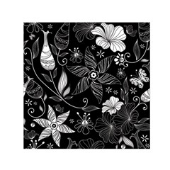 Floral Flower Rose Black Leafe Small Satin Scarf (square)