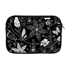 Floral Flower Rose Black Leafe Apple Macbook Pro 17  Zipper Case