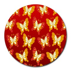 Butterfly Gold Red Yellow Animals Fly Round Mousepads