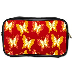 Butterfly Gold Red Yellow Animals Fly Toiletries Bags 2 Side by Alisyart