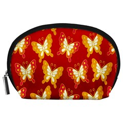 Butterfly Gold Red Yellow Animals Fly Accessory Pouches (large)