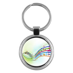 Color Musical Note Waves Key Chains (round)