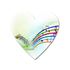 Color Musical Note Waves Heart Magnet by Alisyart