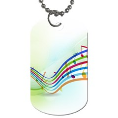 Color Musical Note Waves Dog Tag (one Side)