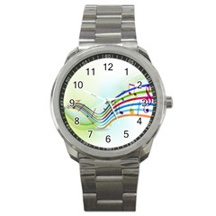 Color Musical Note Waves Sport Metal Watch
