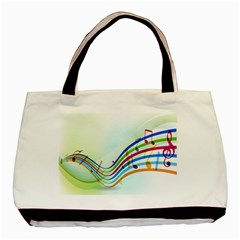 Color Musical Note Waves Basic Tote Bag by Alisyart