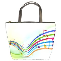 Color Musical Note Waves Bucket Bags by Alisyart