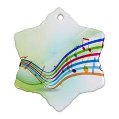 Color Musical Note Waves Snowflake Ornament (two Sides)